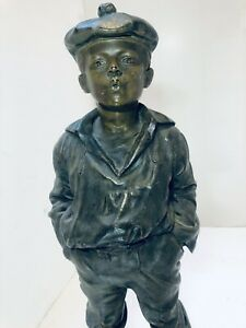 "ANTIQUE BRONZE  Le Siffleur : The Wistler: Antique Boy 17"" TALL Bronze"