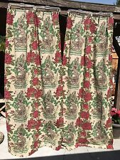 40's VINTAGE BARKCLOTH 2 PANEL PEONIES BONZAI TREE FULL LENGTH DRAPES CURTAINS