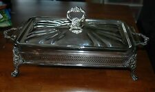 Silver Plated Rectangular Footed Server with Glass Dish Insert & Lid