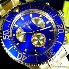 Invicta Reserve Grand Diver Master Calendar Gold Plated Blue 47mm Watch New