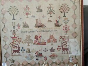 Antique embroidery sampler 1780,s Ann Weatherall the twelth year of her creation