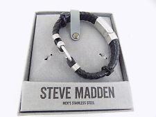 Steve Madden Stainless Steel Men's Black Silver Bracelet With Hook Closure C12