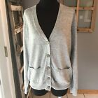 Madewell J.Crew Gray Teal Ribbon Trim Thin Knit Button Cardigan Sweater L Euc