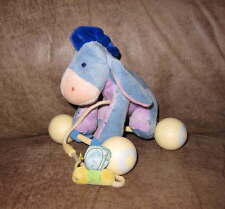 DISNEY Washable EEYORE Rattle & Roll TOY Infant Pull Plush Pooh Soft Baby Clean