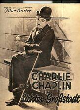 CHARLES CHAPLIN-Lichter Der Grobstadt- Film-kurier 1931