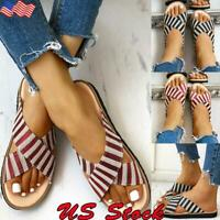 US Women's Ladies Crisscross Striped Slippers Sandals Casual Slip On Flat Shoes