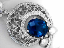5.95Ct Genuine Diamond & Blue Topaz Pendant Solid 14K White Gold,  Antique style