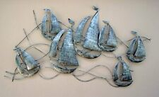 Large Metal Sailing Ships 3D Wall Art Burnished Silver Abstract Boat Wall Art