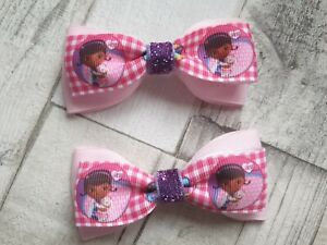 Double bow Pink glitter bow. Doc McStuffin bow Cartoon Bow