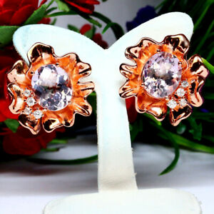NATURAL VVS 9 X 12 mm. OVAL PINK AMETHYST & WHITE CZ EARRINGS 925 SILVER