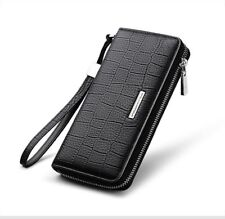 Genuine Leather Clutch Long Men Wallet Card Holder Zipper Luxury Purse and Strap