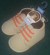 NEW Carter's Child Of Mine 3-6 Months Baby Boy Shoes~Light Brown w/Orange Laces