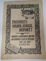 Vintage 1952 AAA Automobile Club of Missouri Golden Jubilee Report