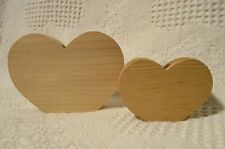"""Unfinished Cutout Wooden Shape Two Hearts 2"""" and 3"""" tall Paintable CandleHolder"""