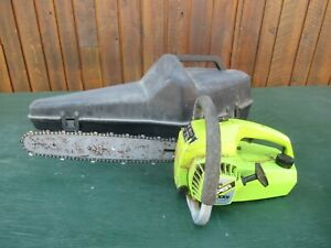 """Vintage POULAN MICRO SUPER XXV DELUXE Chainsaw Chain Saw with 14"""" Bar with CASE"""