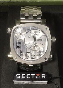 SECTOR Compass Men's Torch Light Morse Code Quartz Watch 3253907015 5ATM 54x46mm