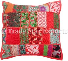 Indian Vintage Patchwork Pillow Case 18x18 Embroidered Square Cushion Cover