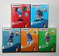 Schleich Smurf - Set of 5 x BELGIAN OLYMPIC TEAM 2012 smurfs *New* Boxed (Promo)