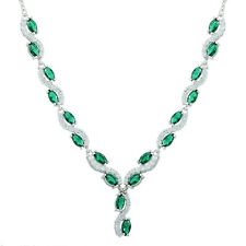 18K White Gold Plated Marquise&Round Green Emerald Clear Topaz Choker Necklace