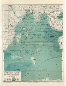 1899 INDIAN OCEAN AUSTRALIA SIAM INDIA CEYLON MADAGASCAR ARABIA Antique Map