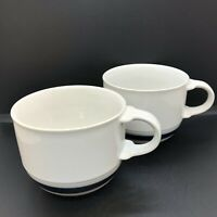 Mikasa New Avenues Tea Coffee Cups PT902 White & Blue Band Set of 2~One Has Chip