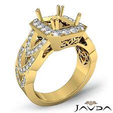 18k Yellow Gold Halo Designer Diamond Engagement Ring Emerald Semi Mount 1.27Ct