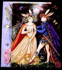 PAMELA SILIN-PALMER Bunny Rabbits Bride Groom Fantasy  Marriage Wedding Card NEW