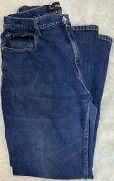Fubu Jeans Size W17/18 Women's Denim Blue High Rise Flat Front Logo EUC