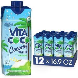 Vita Coco Coconut Water, Pure, 33.8 fl oz (Pack of 12)