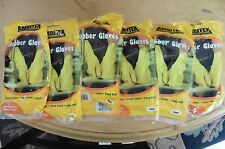 6 Pairs Ambitex Gloves Rubber Latex Yellow Cleaning Flock Lined Long Cuff Small