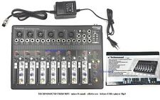 TECHNOSOUND TMX8 MP3 mixer 8 canali effetto eco lettore USB e player Mp3 Phantom