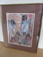 Maurice Loriaux - Signed Original Watercolor Native American Family FRAMED