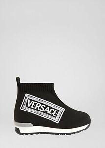 NWT NEW Young Versace boys girls black sock sneaker shoes logo 20 4 21 5 24 8