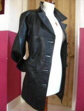 Ladies NEXT black leather double breasted COAT military trench size UK 8 goth