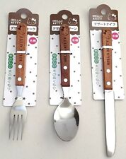 SANRIO HELLO KITTY Wooden handle dessert Fork & Spoon & Knife F/S AIRMAIL JAPAN