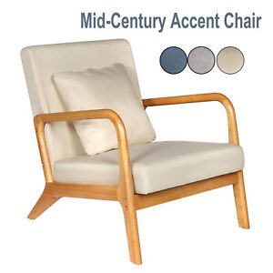 Mid-Century Accent Chair Reading Armchairs Upholstered Fabric Single Lounge Sofa