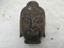 CHINESE INDIA HINDU HAND CARVED LARGE STONE ANTIQUE BUDDHA HEAD SCULPTURE 11 LBS