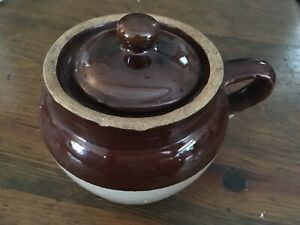 Crock, baked bean. Brown, cream, with handle and lid. Stoneware. Antique. Paypal