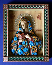 WOODEN CARVED HAND PAINTED ORTHODOX ICON MOTHER OF GOD