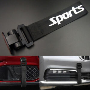 Black Universal Car Front Bumper Sports Style Decor Tow Hook Strap Body Rope Kit