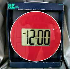 Wall Clock Time Digital glass round red LCD display.