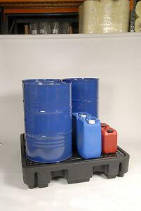 Oil Chemical Bunded Spill Pallet 250l 4 drum capacity