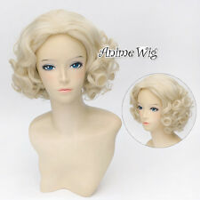 Lolita Style Short Light Blonde Curly Hair Women Marilyn Monroe Cosplay Wig