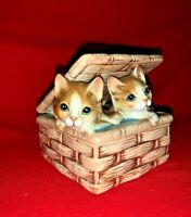 French Renaissance Provincial Boudoir Trinket Box Jewelry Tabby Cat  ❤️sj11h7s