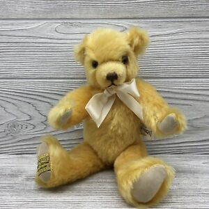 """Vintage Merrythought Yellow Mohair Limited Edition 10"""" Jointed Stuffed Bear"""