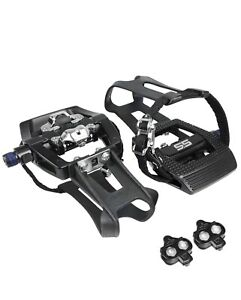 Peloton Shimano SPD Compatible 9/16'' Pedals with Toe Clips Indoor Bike Pedal
