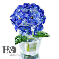 Crystal Flower Glass Hydrangea Figurine Gift For Lady  Blue Paperweight Ornament