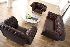 Chesterfield Designer Sofagarnitur Polster Sitz Leder Couch Garnitur 3+1+1 Neu
