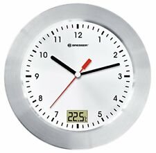 Bresser Wall Clock MyTime Bath for Bathroom with Temperature Display - White Si