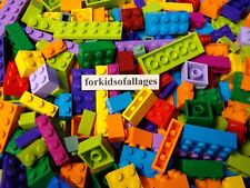 100 Bulk Lego Bricks Blocks Plates Bright Colors Mix Purple Azure Lavender Green